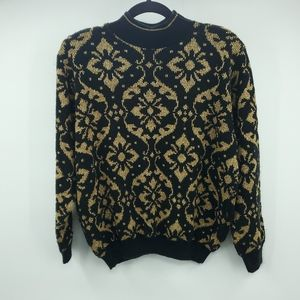 Alfred Dunner Gold Acrylic Knit Sweater M